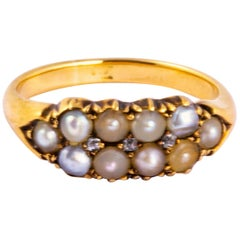 Edwardian Pearl and Diamond 18 Carat Gold Band