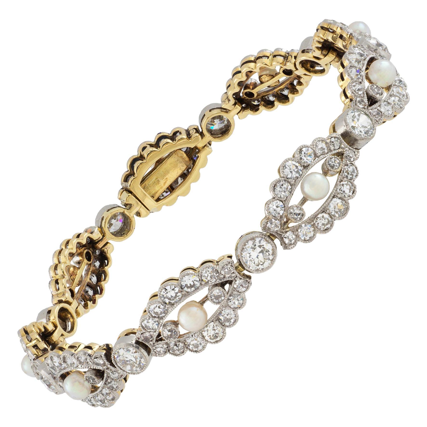 Edwardian Pearl and Diamond Bracelet