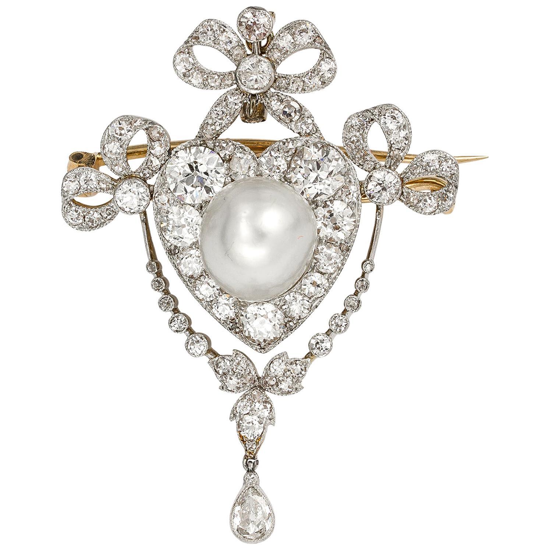 Edwardian Pearl and Diamond Brooch/Pendant