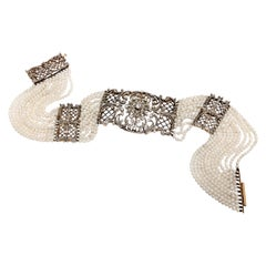 Edwardian Pearl and Diamond Collar Necklace