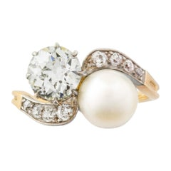 Edwardian Pearl and Diamond Cross over Ring