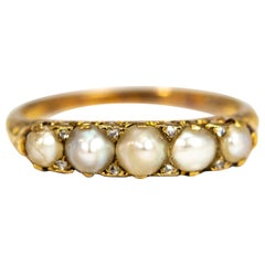 Edwardian Pearl and Diamond Five-Stone 18 Carat Gold Ring
