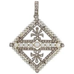 Edwardian Pearl and Diamond Kite-Shaped Pendant