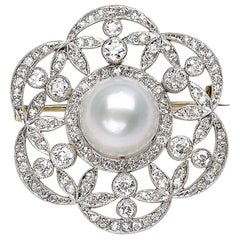 Edwardian Pearl and Diamond Platinum on Gold Brooch, circa 1910