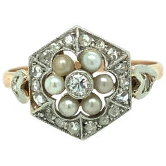 Edwardian Pearl and Diamond Ring