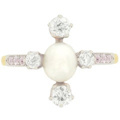 Edwardian Pearl and Pink Diamond Cluster Ring, circa 1910