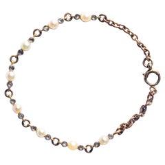 Edwardian Pearl and Rose Cut Diamond 18 Carat Gold Bracelet