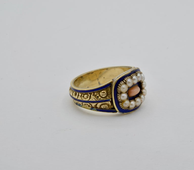 Edwardian Pearl, Coral and Blue Enamel Ring in Yellow Gold In Excellent Condition For Sale In Berkeley, CA