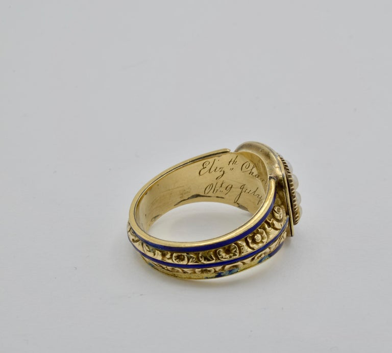 Women's or Men's Edwardian Pearl, Coral and Blue Enamel Ring in Yellow Gold For Sale