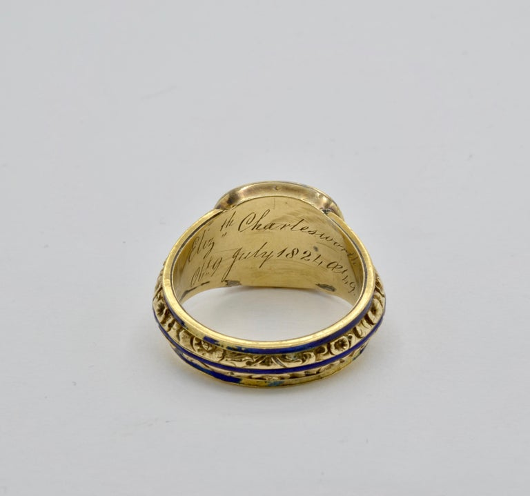 Edwardian Pearl, Coral and Blue Enamel Ring in Yellow Gold For Sale 1