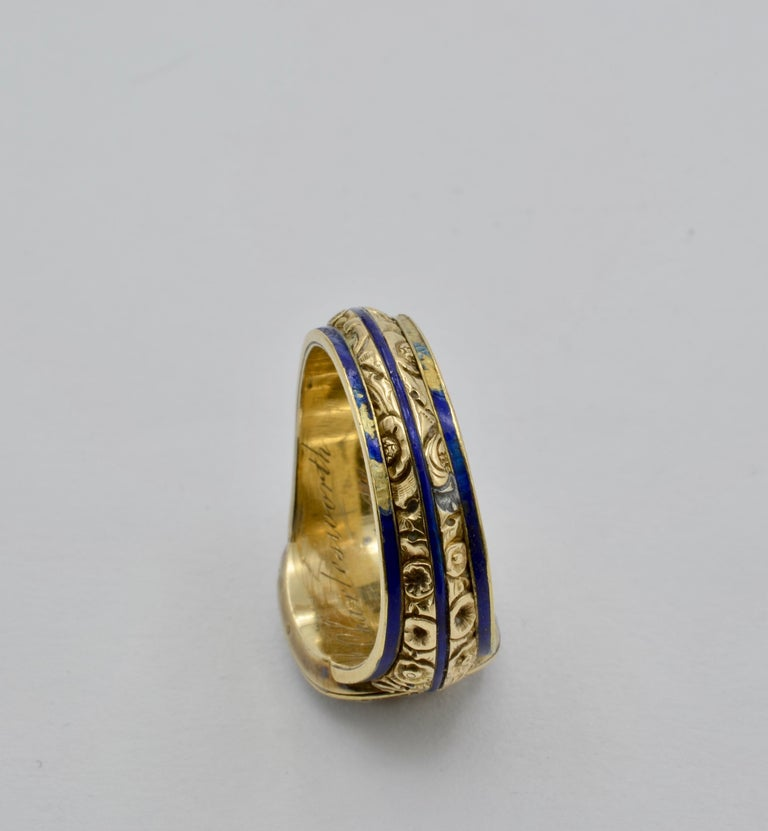 Edwardian Pearl, Coral and Blue Enamel Ring in Yellow Gold For Sale 2