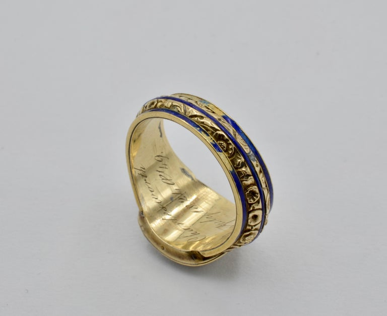 Edwardian Pearl, Coral and Blue Enamel Ring in Yellow Gold For Sale 3