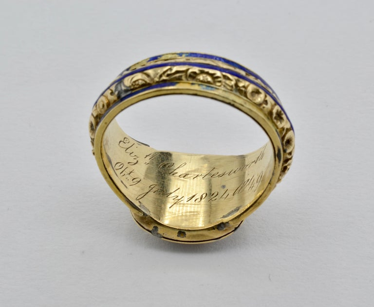 Edwardian Pearl, Coral and Blue Enamel Ring in Yellow Gold For Sale 5
