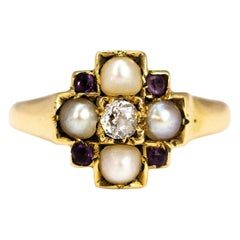 Edwardian Pearl, Diamond and Amethyst 15 Carat Gold Panel Ring