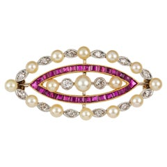 Edwardian Pearl Diamond and Ruby Brooch