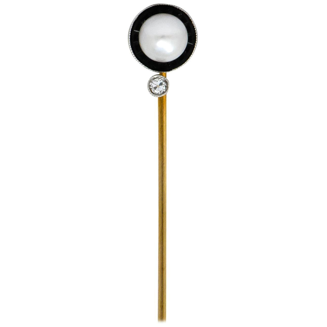 Edwardian Pearl Diamond Carved Onyx Platinum Gold Stickpin