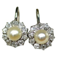 Edwardian Pearl Diamond Cluster Earrings