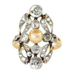 Edwardian Pearl Diamond Gold Ring, circa 1910