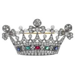 Edwardian Pearl Diamond Multi Gem Set Crown Brooch