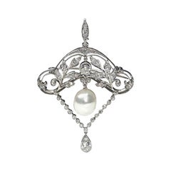 Edwardian Pearl Diamond Platinum Brooch Pendant