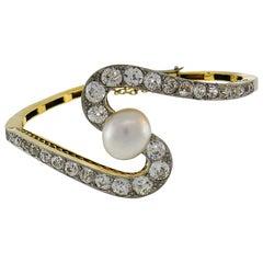 Edwardian Pearl Diamond Platinum Gold Bracelet Art Deco