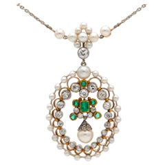 Edwardian Pearl, Emerald and Diamond Necklace