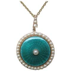 Edwardian Pearl Enamel 18 Karat Yellow Gold Necklace