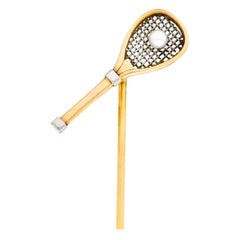 Edwardian Pearl Platinum-Topped 14 Karat Rose Gold Tennis Racket Stickpin