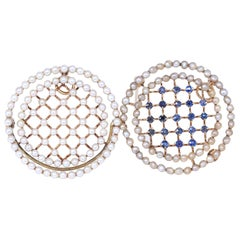 Edwardian Pearls Sapphires 14 Karat Yellow Gold Pair of Brooches Pendants