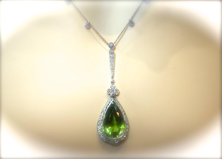 Edwardian Peridot and Diamond Necklace, Shreve & Co., circa 1918 For Sale 6
