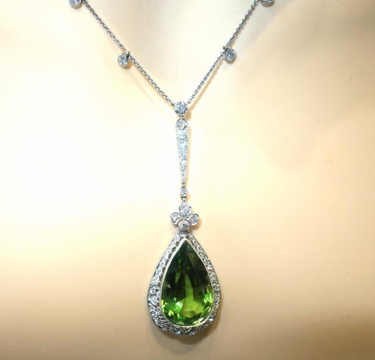 Edwardian Peridot and Diamond Necklace, Shreve & Co., circa 1918 For Sale 7