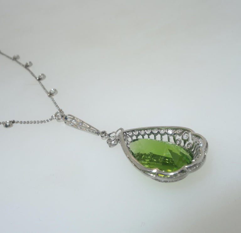 Edwardian Peridot and Diamond Necklace, Shreve & Co., circa 1918 For Sale 8
