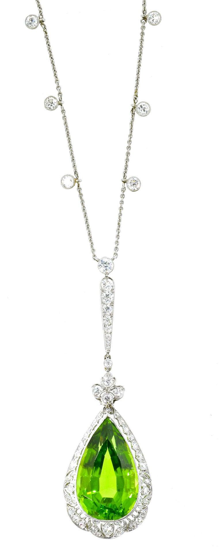 Edwardian Peridot and Diamond Necklace, Shreve & Co., circa 1918 For Sale 9