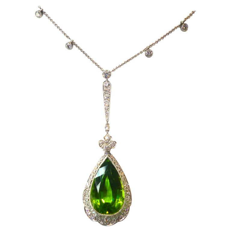 Edwardian Peridot and Diamond Necklace, Shreve & Co., circa 1918 In Excellent Condition For Sale In Aspen, CO