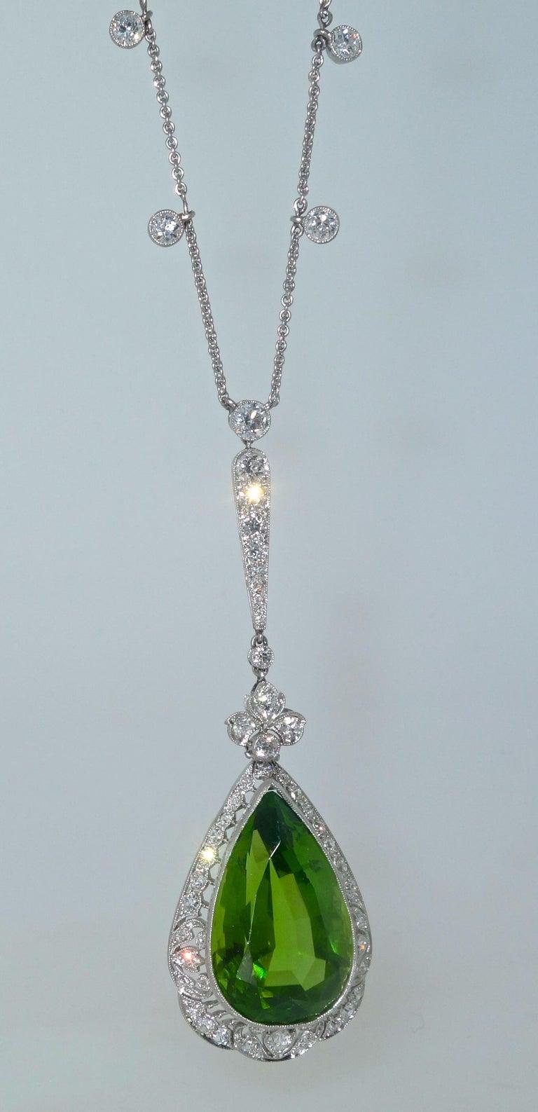 Edwardian Peridot and Diamond Necklace, Shreve & Co., circa 1918 For Sale 1