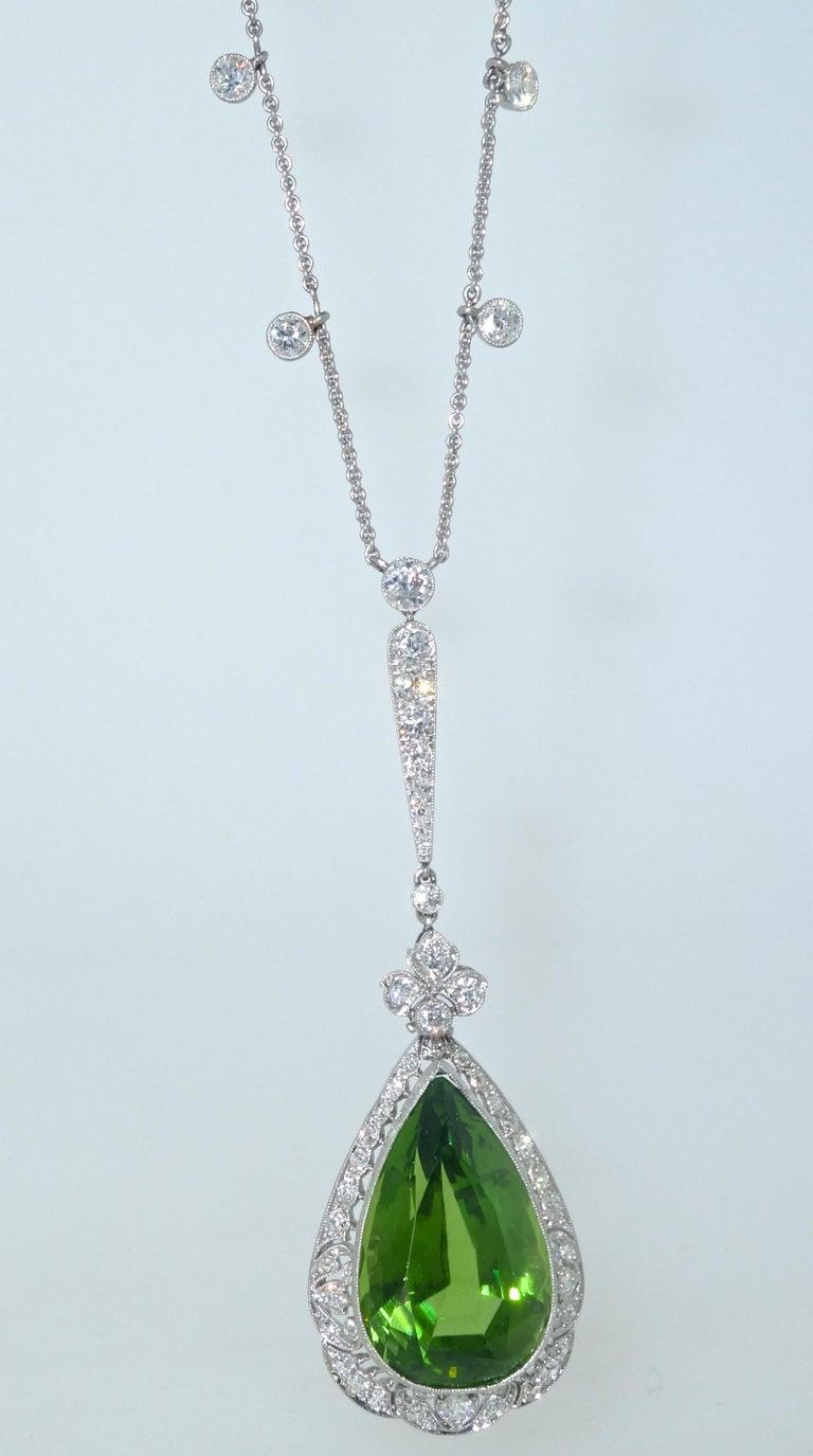 Edwardian Peridot and Diamond Necklace, Shreve & Co., circa 1918 For Sale 2