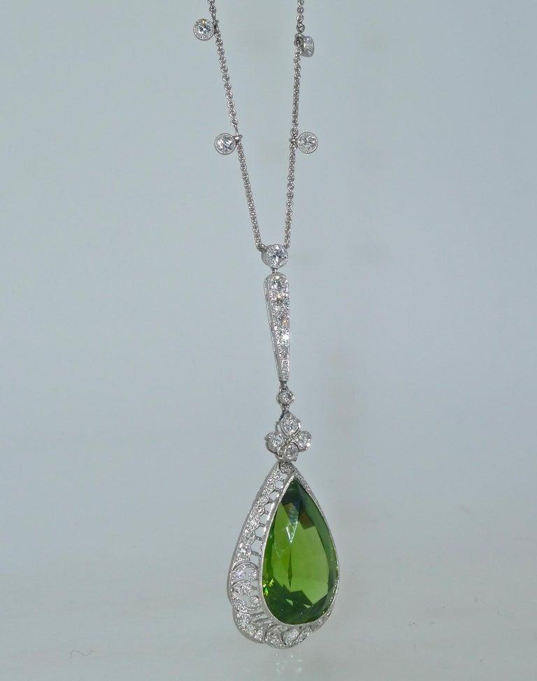 Edwardian Peridot and Diamond Necklace, Shreve & Co., circa 1918 For Sale 3