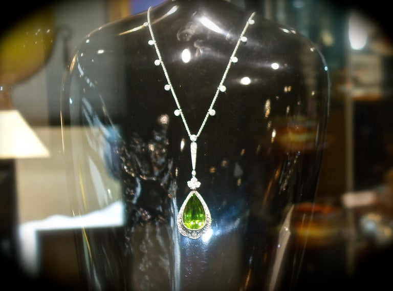 Edwardian Peridot and Diamond Necklace, Shreve & Co., circa 1918 For Sale 4