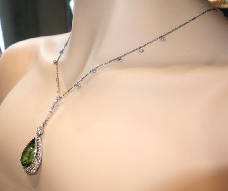 Edwardian Peridot and Diamond Necklace, Shreve & Co., circa 1918 For Sale 5