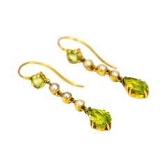 Edwardian Peridot and Pearl 15 Carat Gold Drop Earrings