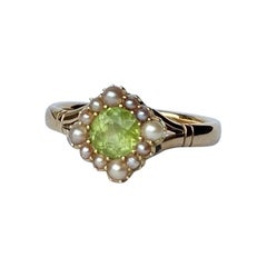 Edwardian Peridot and Pearl 9 Carat Gold Cluster Ring