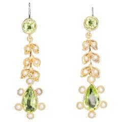 Edwardian Peridot and Pearl Drop Earrings