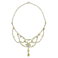 Edwardian Peridot Pearl and Gold Swag Necklace, circa 1900