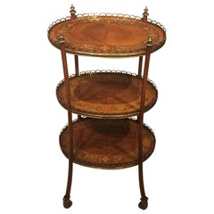 Edwardian Period Kingwood, Sycamore and Marquetry Inlaid Étagère