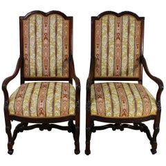 Edwardian Period Pair of Carved Mahogany Upholstered Armchairs