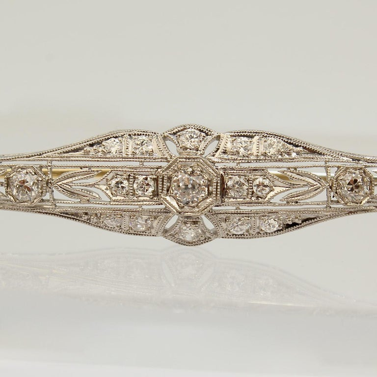 Edwardian Period Platinum-Topped 14 Karat Gold and Diamond Bar Pin or Brooch In Good Condition For Sale In Philadelphia, PA