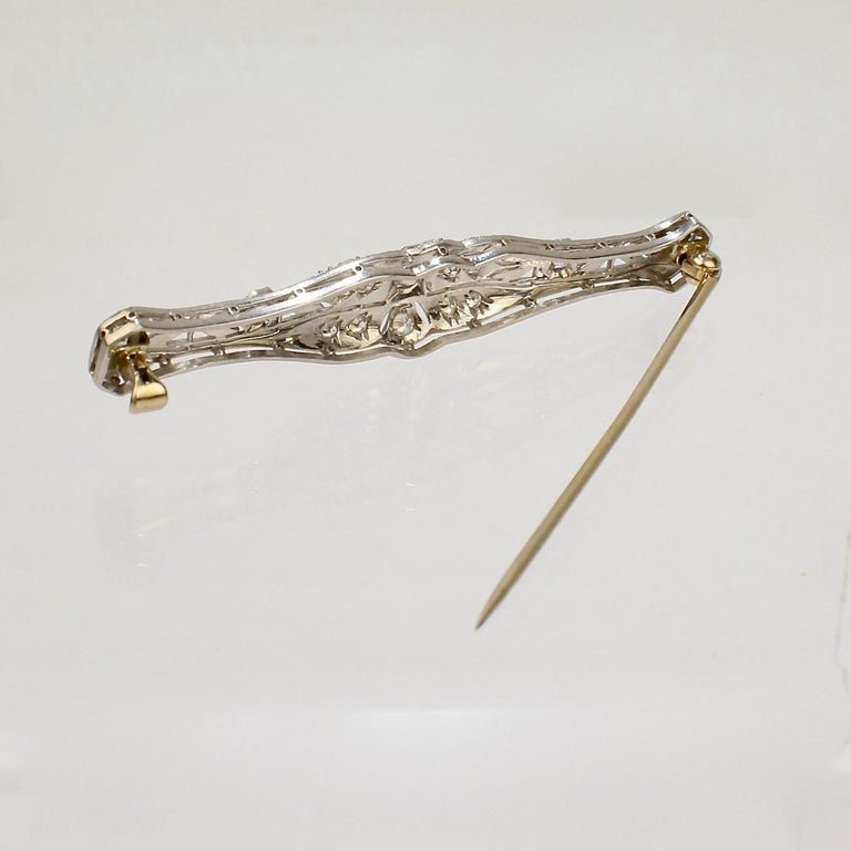 Edwardian Period Platinum-Topped 14 Karat Gold and Diamond Bar Pin or Brooch For Sale 2