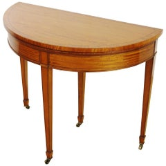 Edwardian Period Sheraton Style Inlaid Satinwood Demilune Card Table