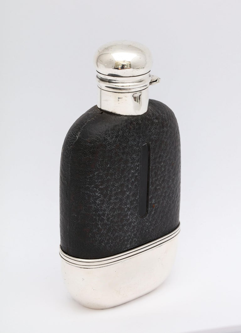 Edwardian Period Sterling Silver and Leather, Mounted Glass Flask For Sale 6