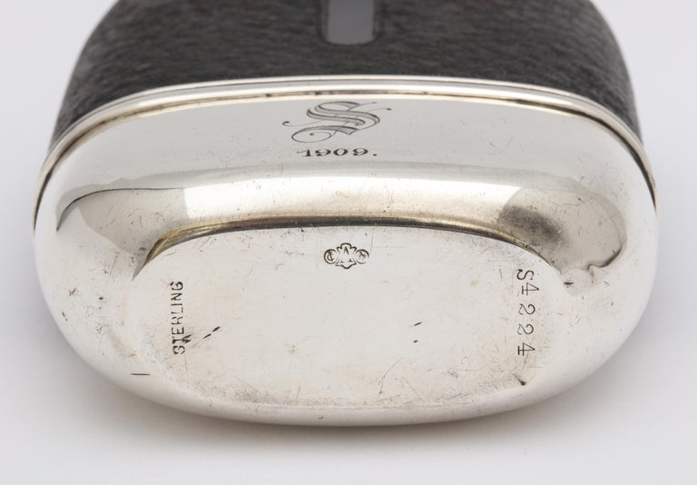 Edwardian Period Sterling Silver and Leather, Mounted Glass Flask For Sale 7